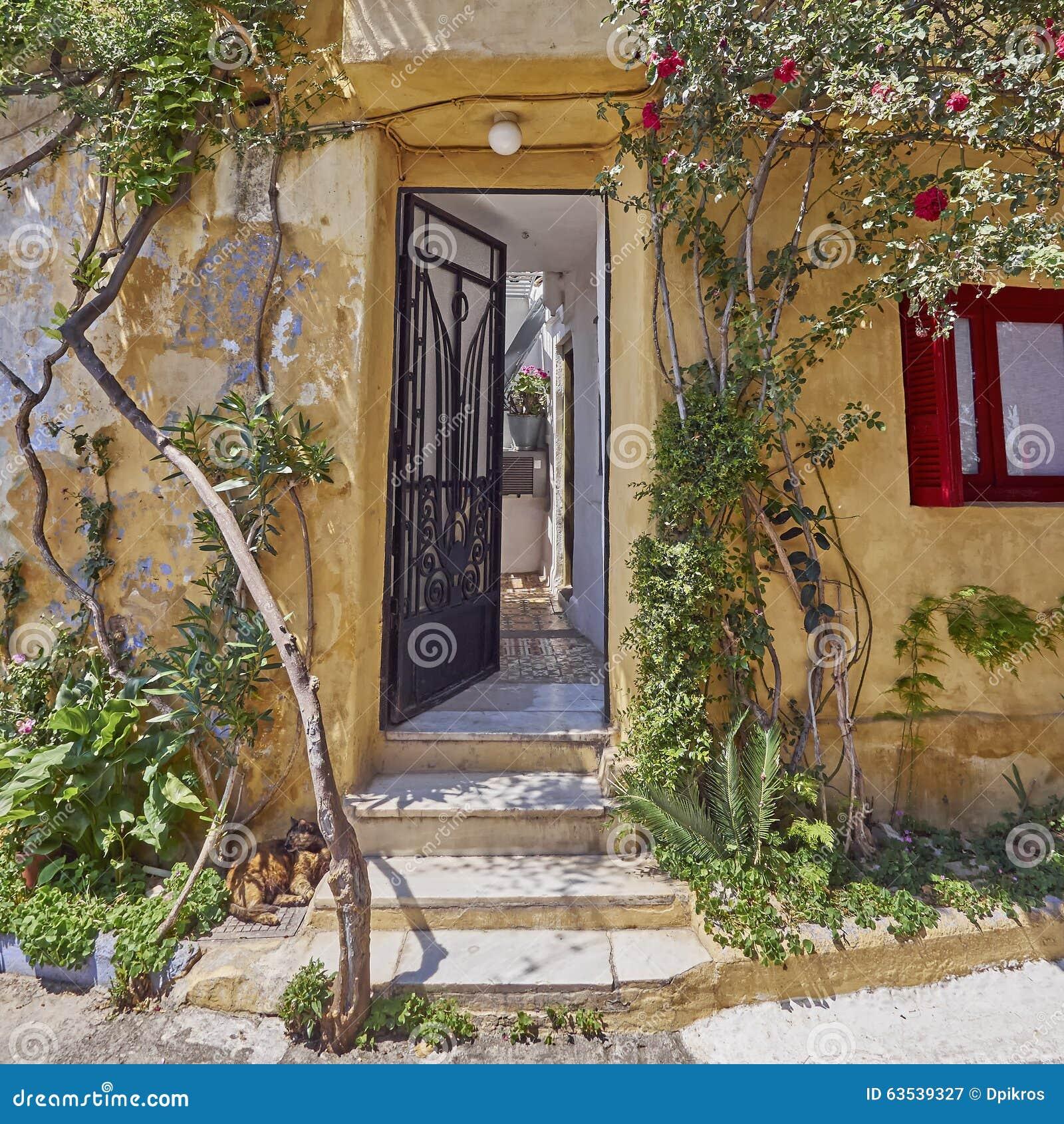 Athens Greece, House Entrance At Anafiotika, An Old ...