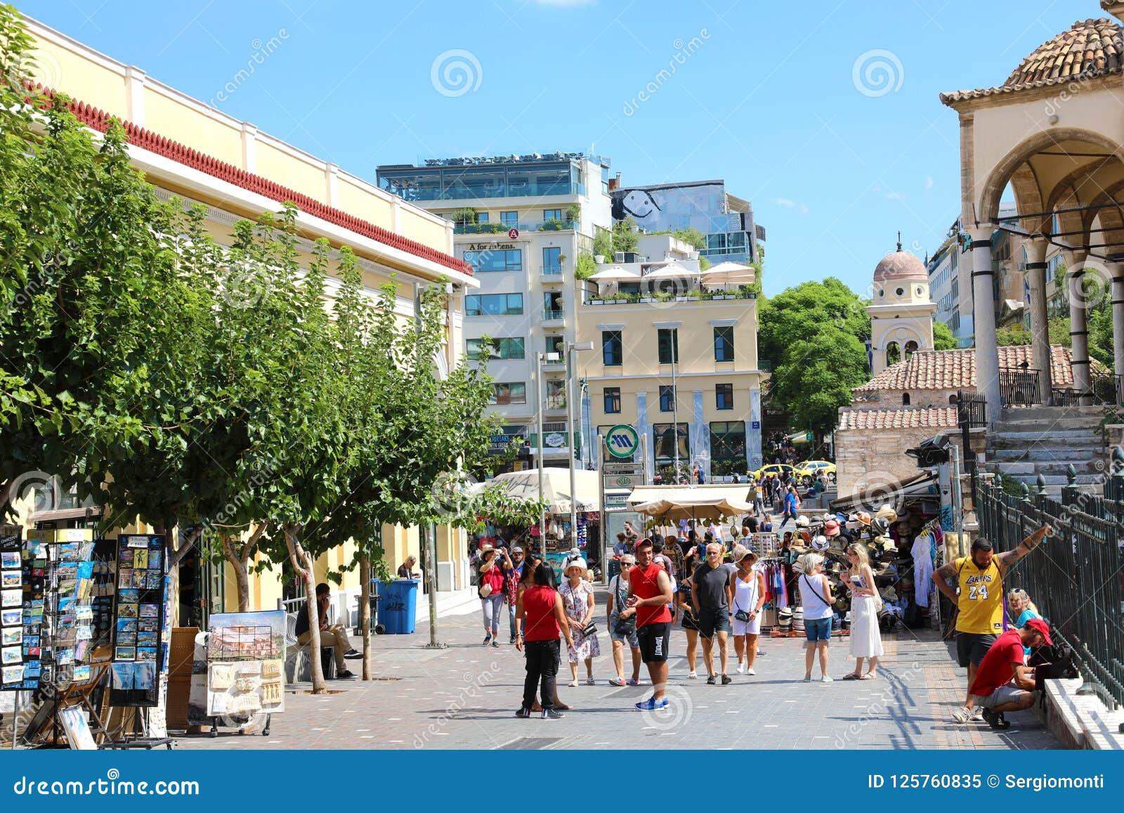 ATHENS, GREECE - JULY 18, 2018: view of Monastiraki square in At