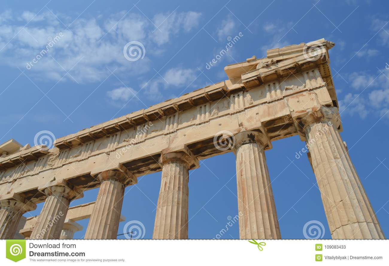 Parthenon temple in Acropolis in Athens, Greece on June 16, 2017.