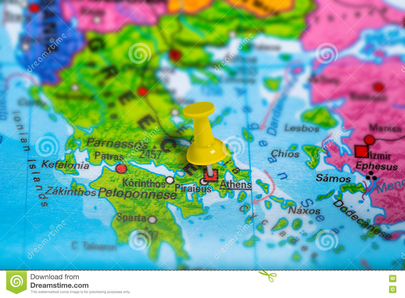 Athens Greece Map Stock Photo Image Of Destination Colorful 80955468
