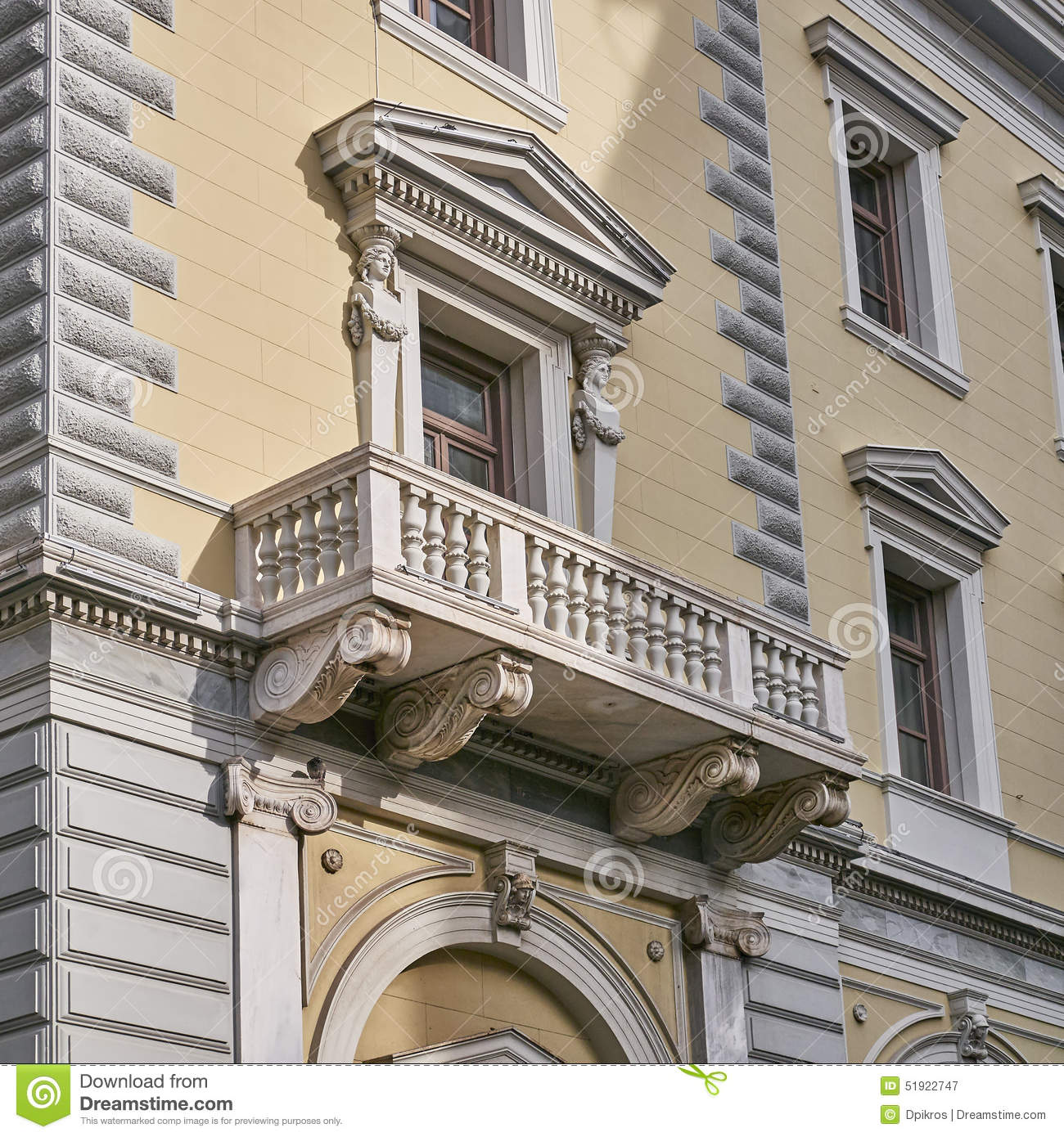 Athens greece neoclassical building 39 s balcony stock for Balcony features
