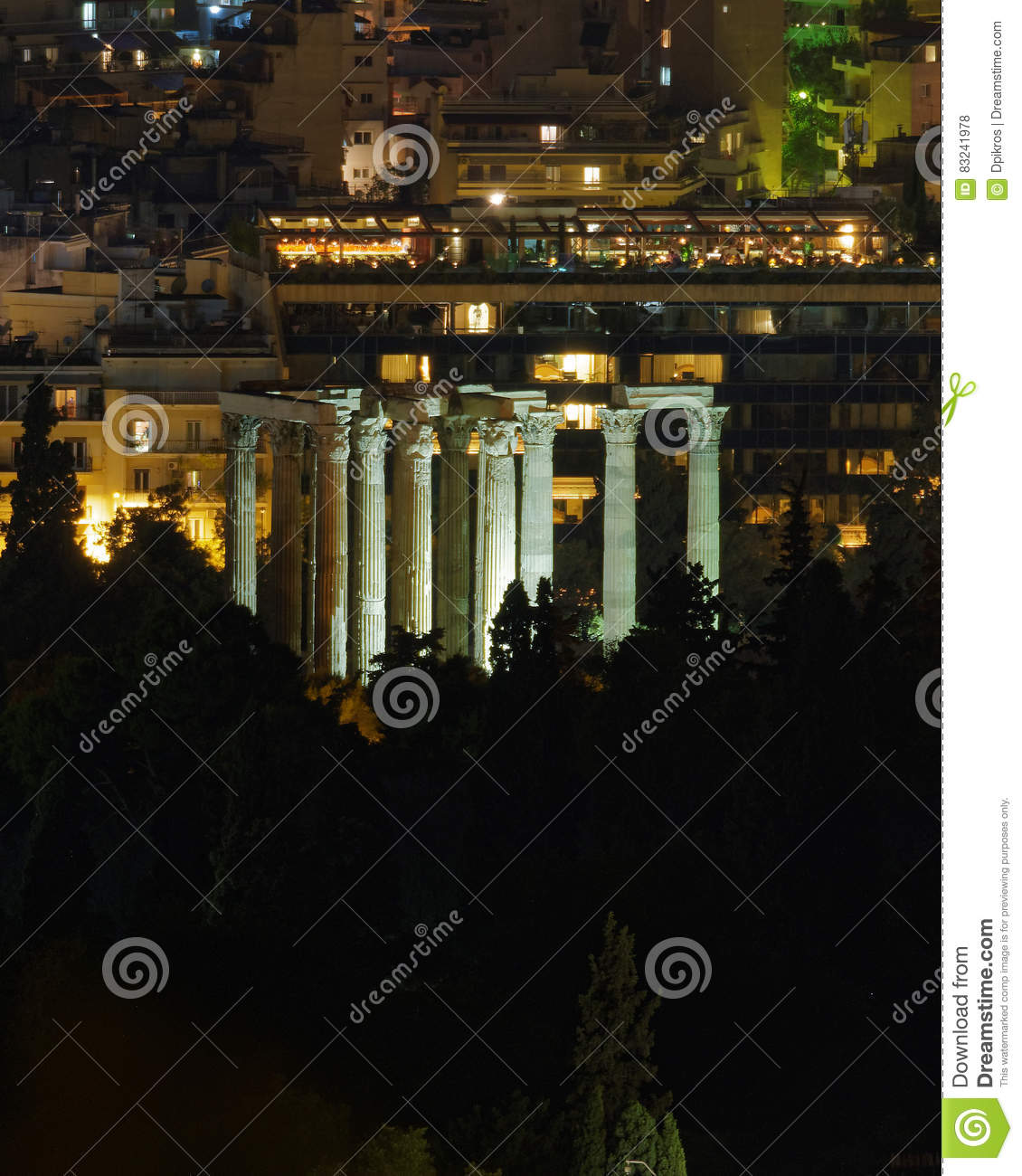 Athens Greece, night view of Olympian Zeus temple ruins