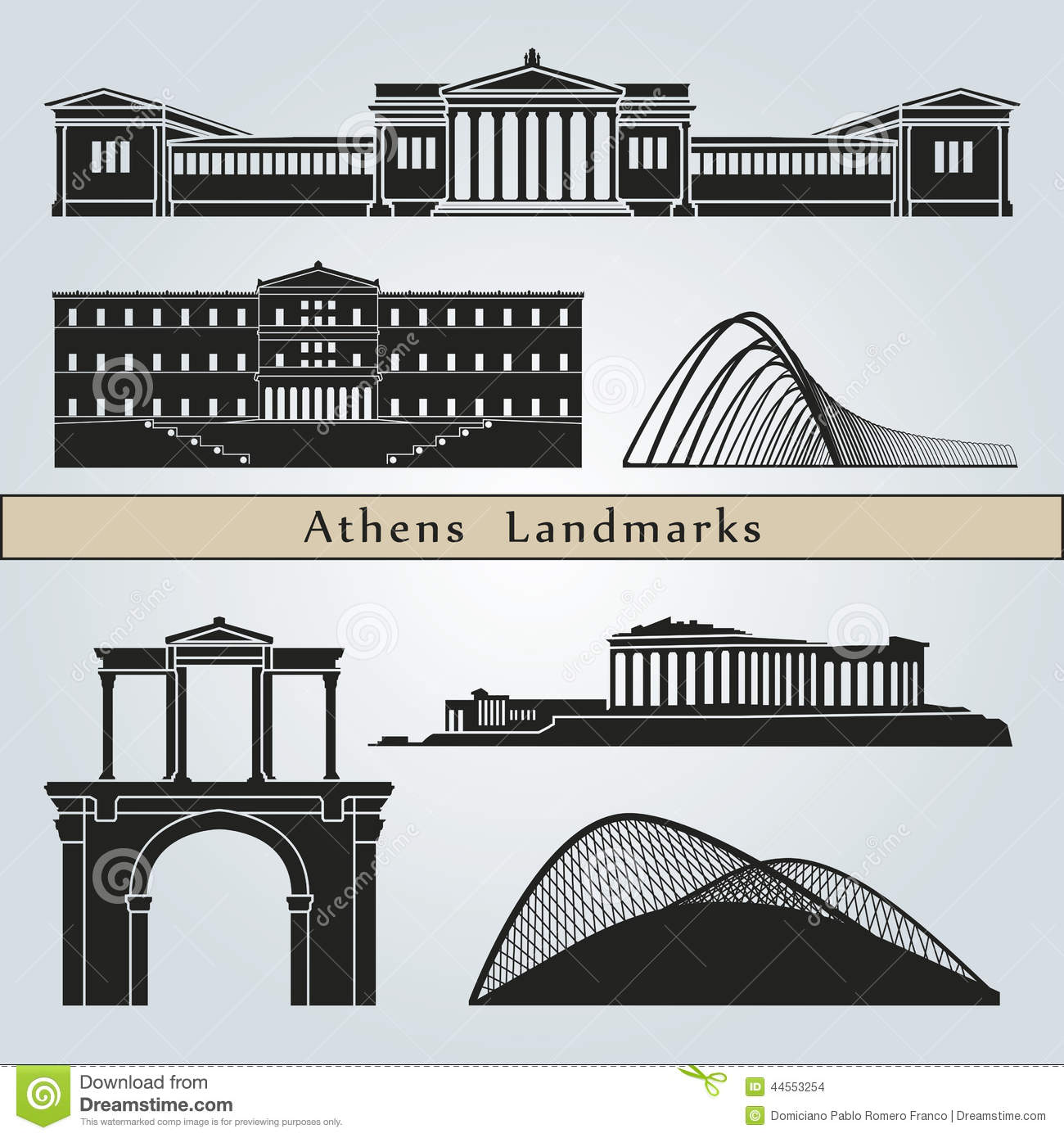 Outline athens skyline with blue buildings and copy space stock vector - Athens Landmarks And Monuments Stock Images