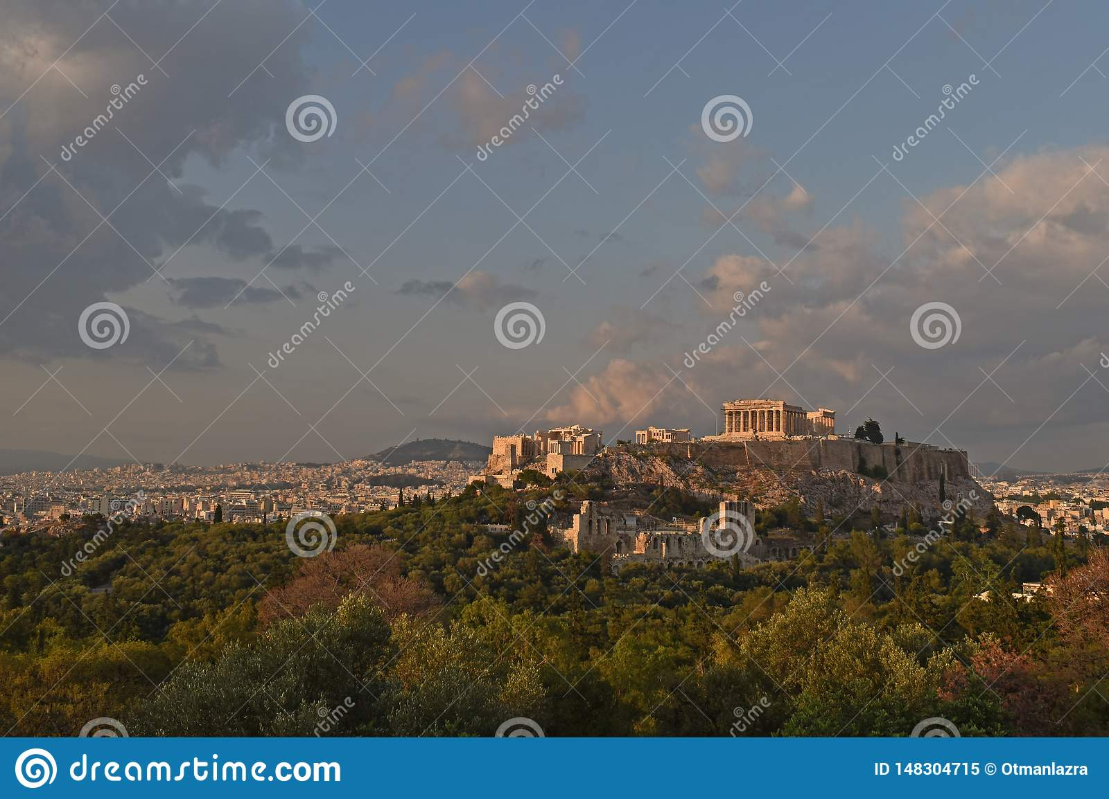 Panorama of Athens with Acropolis hill, Greece.