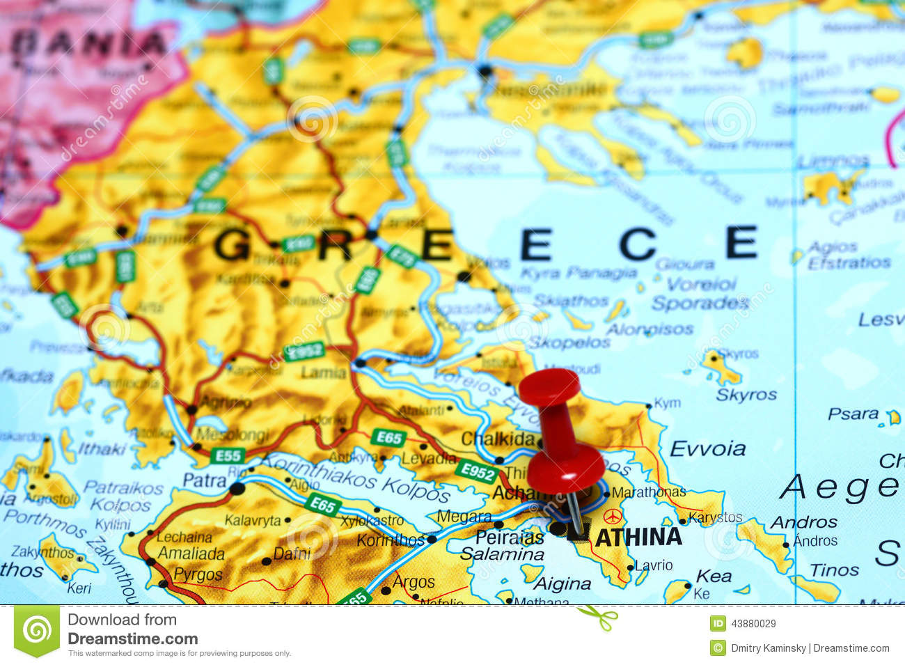 Athens Pinned On A Map Of Europe Stock Image Image Of Close