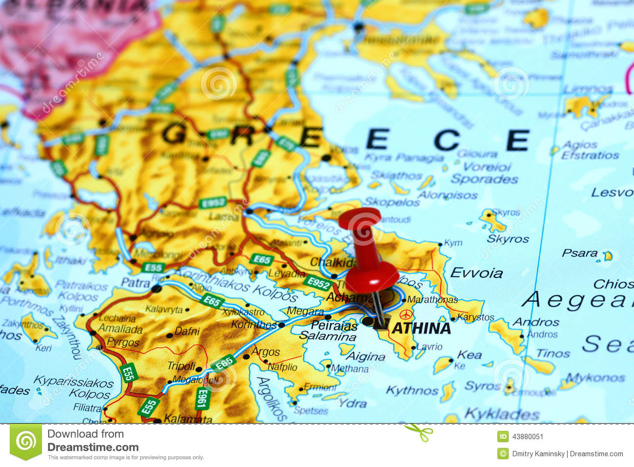 Athens Pinned On A Map Of Europe Stock Image   Image of