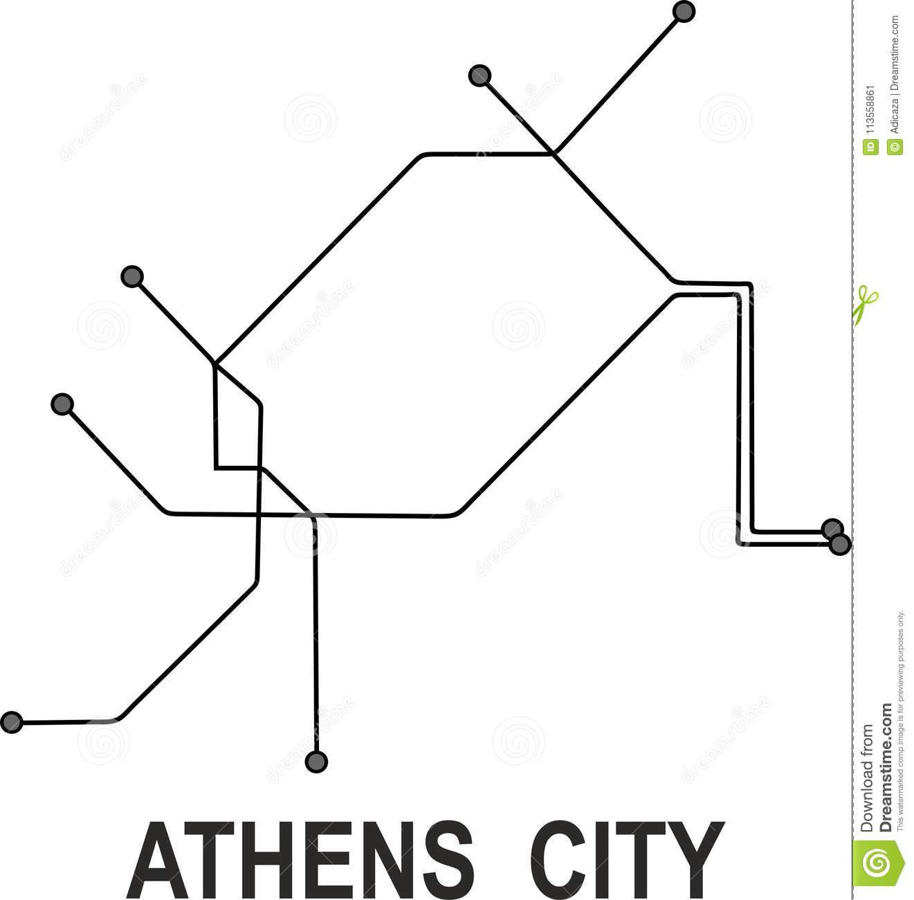 Athens Subway Map.Athens Subway City Map Stock Vector Illustration Of File 113558861