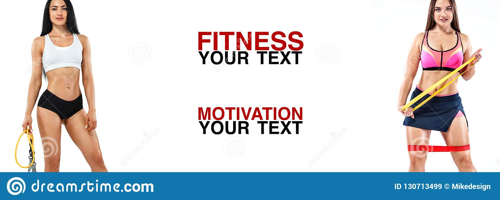 Athlète de femmes de forme physique avec les bandes ou l extenseur Calibre, bannière ou affiche pour des annonces de sport Fond b