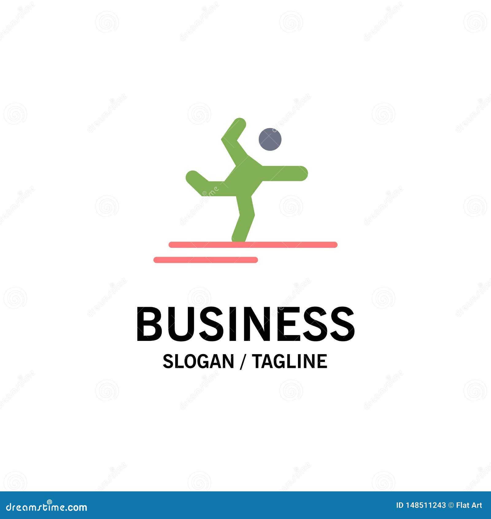 Athlète, gymnastique, exécution, étirant des affaires Logo Template couleur plate