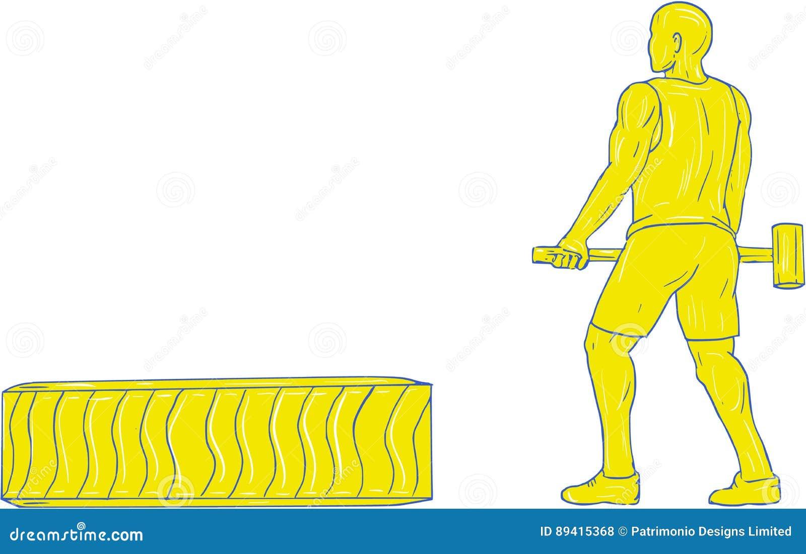 Athlète Hammer Workout Drawing de forme physique