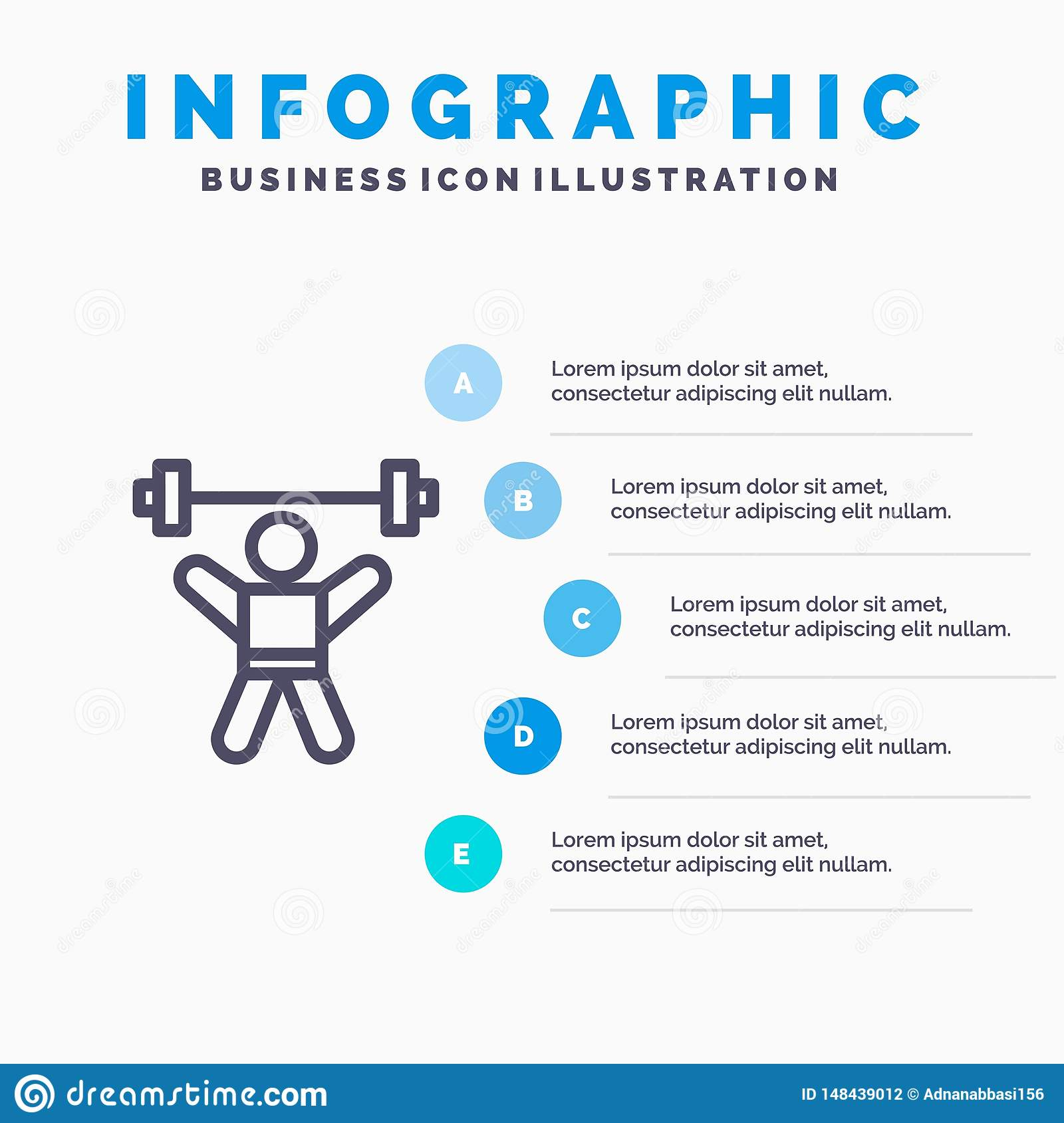 Athlete, Athletics, Avatar, Fitness, Gym Line icon with 5 steps presentation infographics Background