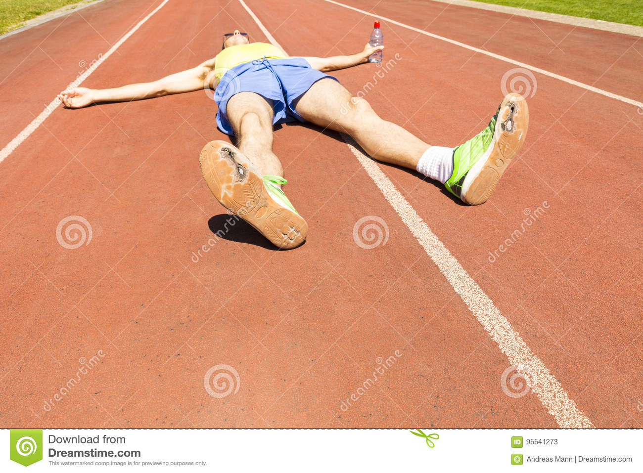 Athlete With Broken Green Running Shoes Stock Image ...