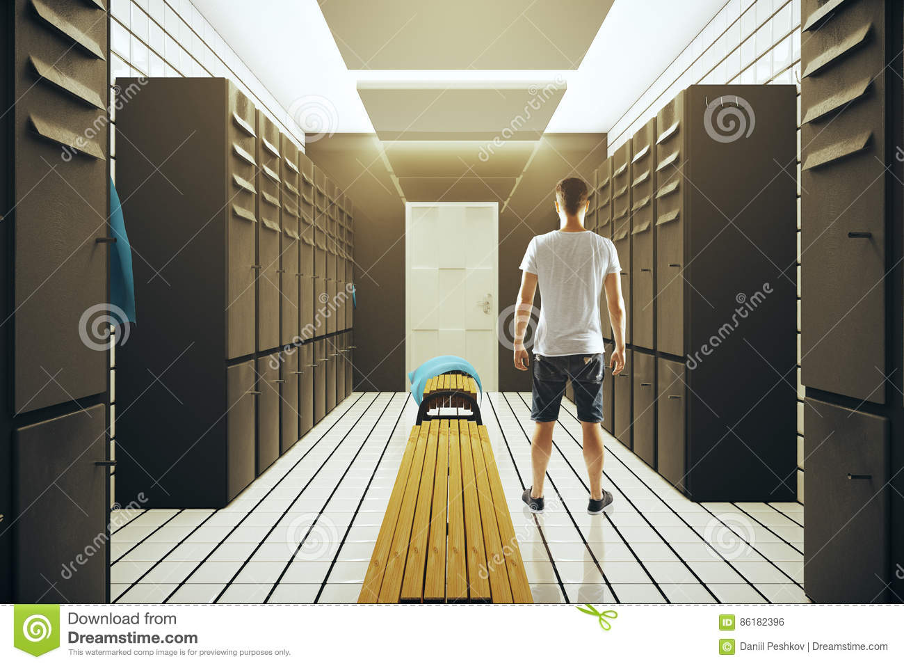 Athlete in changing room stock photo. image of loft protection