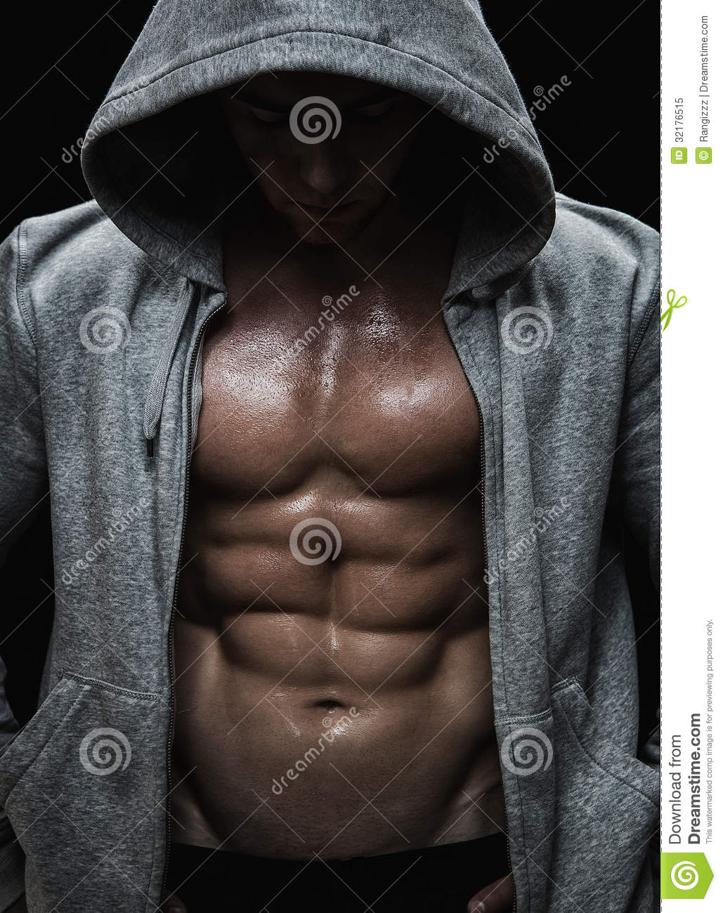 Close up of muscular sports man after weights training.