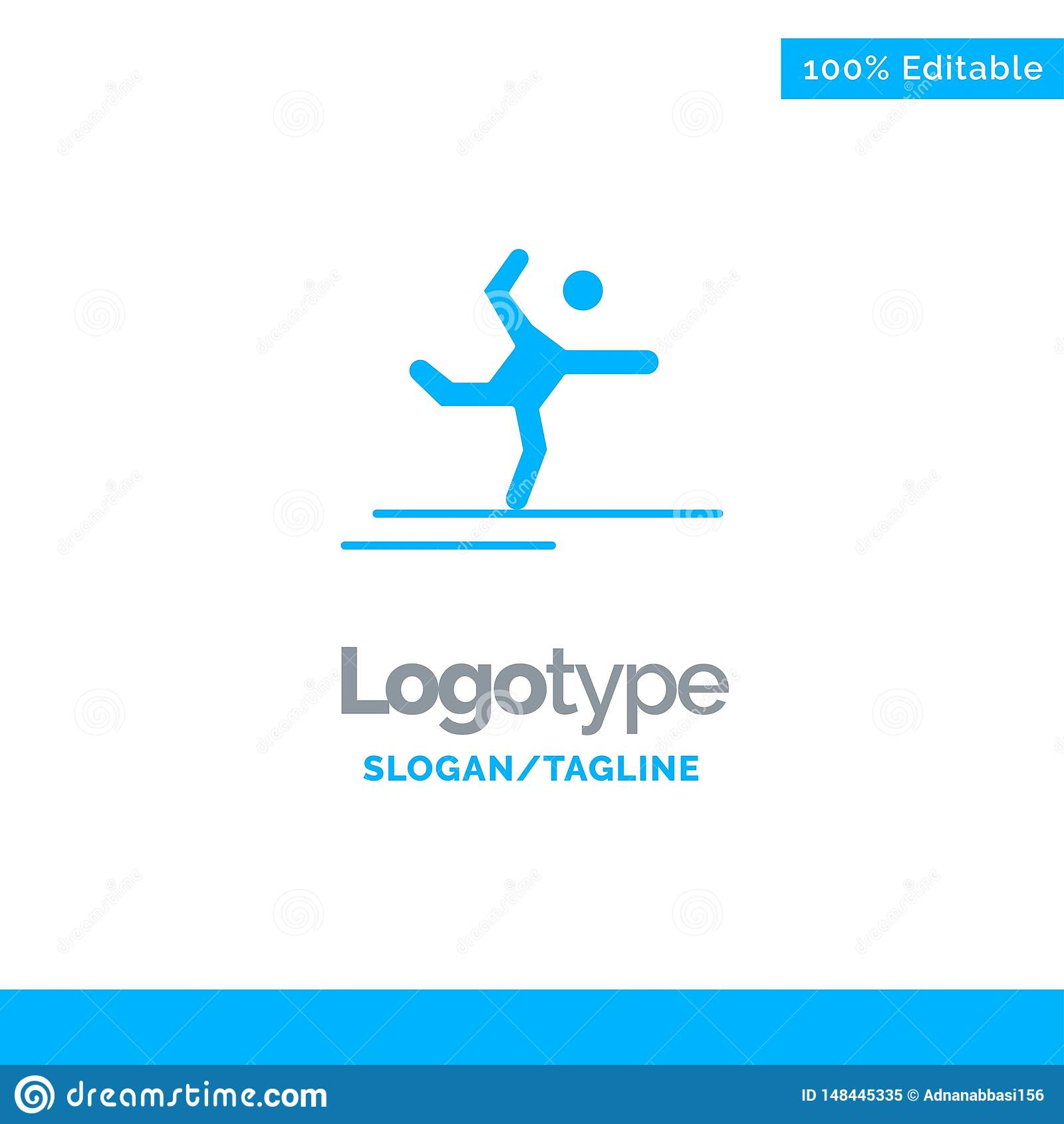 Athlete, Gymnastics, Performing, Stretching Blue Solid Logo Template. Place for Tagline
