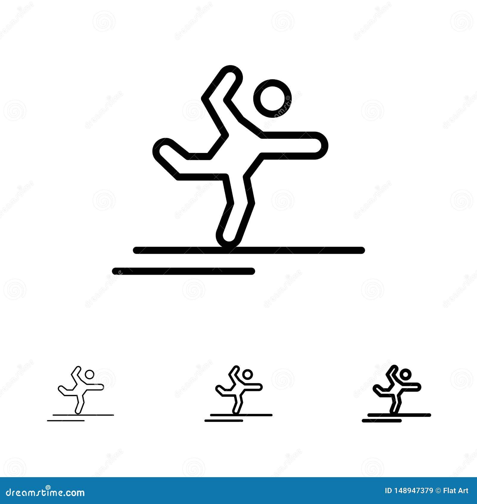 Athlete, Gymnastics, Performing, Stretching Bold and thin black line icon set