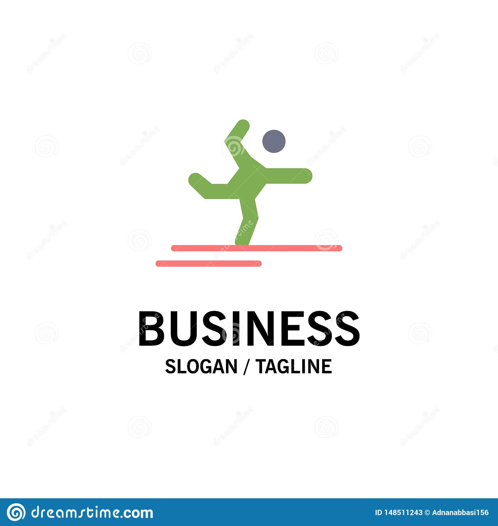 Athlete, Gymnastics, Performing, Stretching Business Logo Template. Flat Color