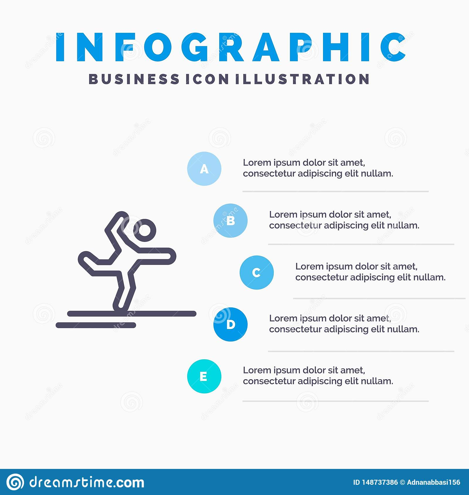Athlete, Gymnastics, Performing, Stretching Line icon with 5 steps presentation infographics Background