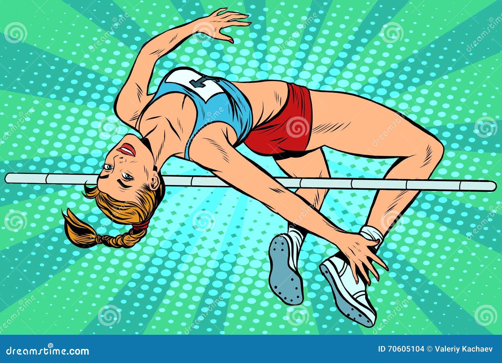 Athlete high jump girl
