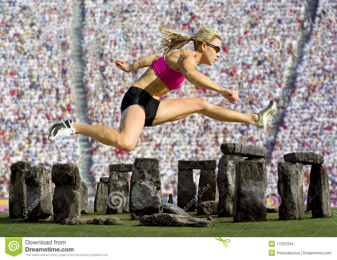Athlete Jumps Over Stonehenge with a Crowd