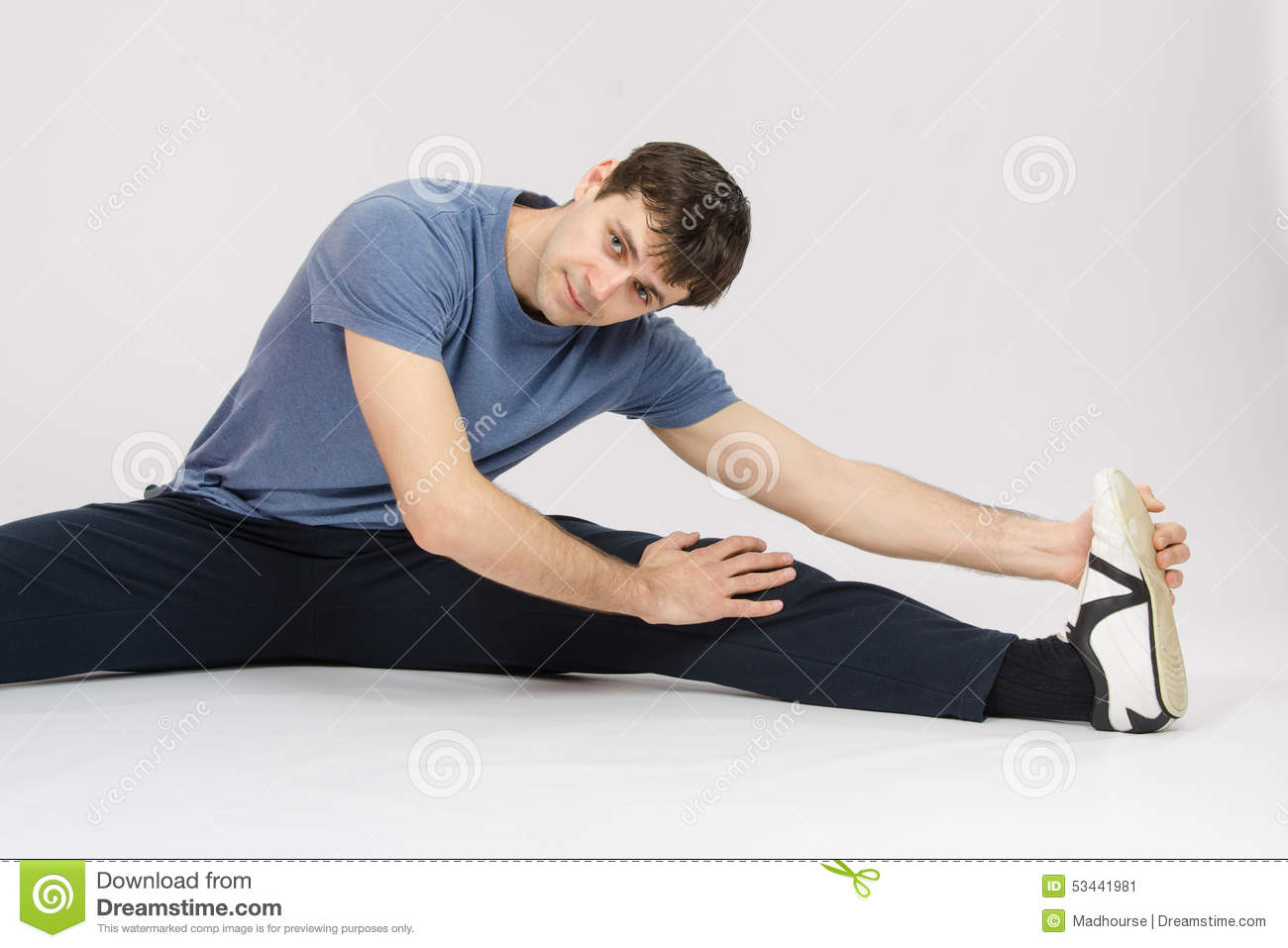 Athlete Stretches The Muscles Of Left Leg Stock Image Image Of