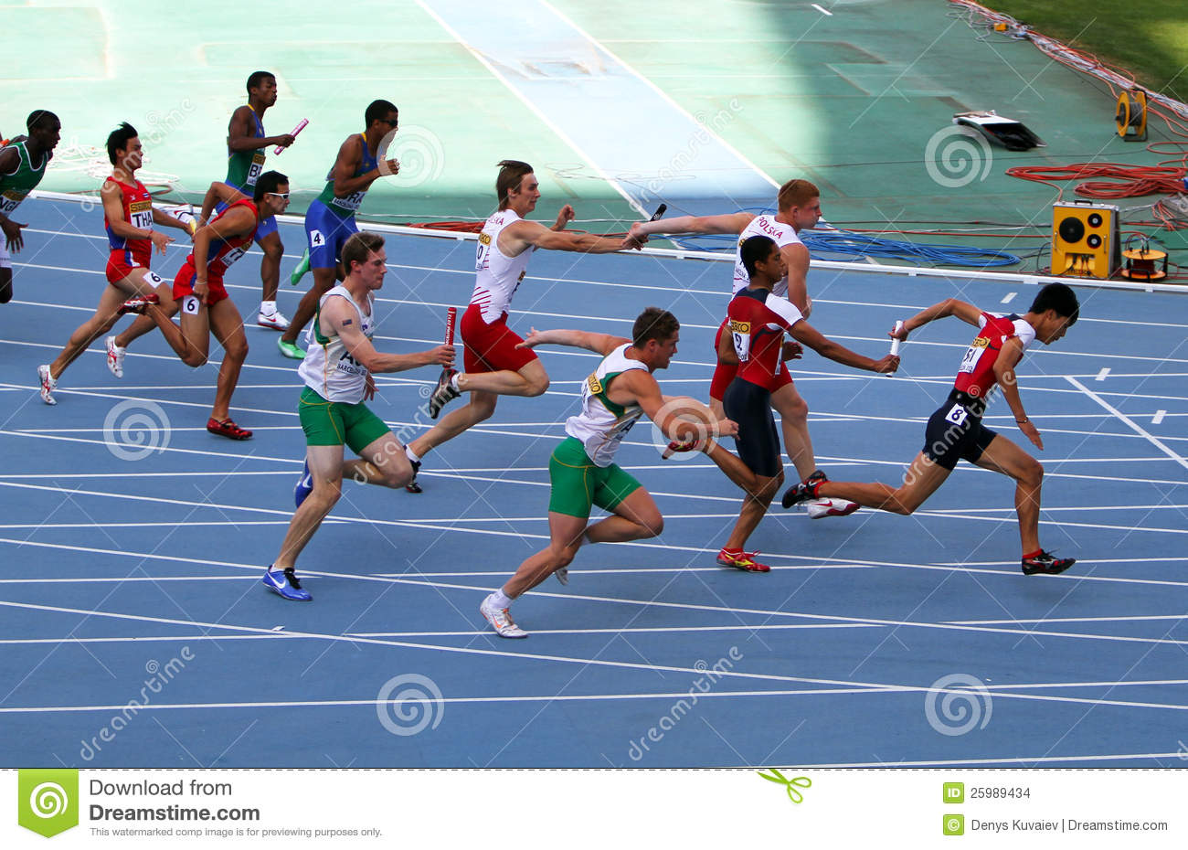 Athletes On The 4 X 100 Meters Relay Race Editorial Stock