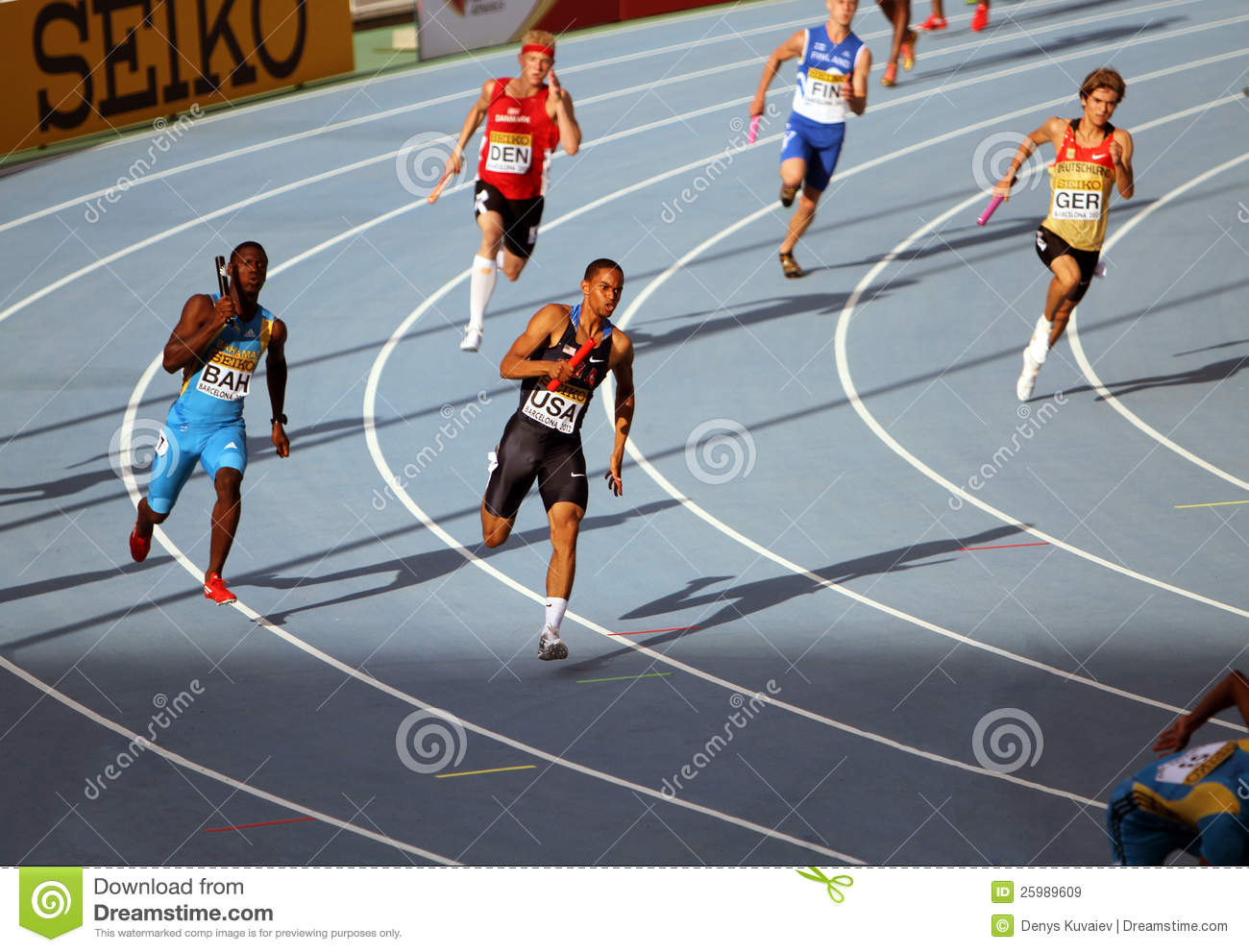 athletes on the 4 x 100 meters relay race editorial photo 25989529. Black Bedroom Furniture Sets. Home Design Ideas