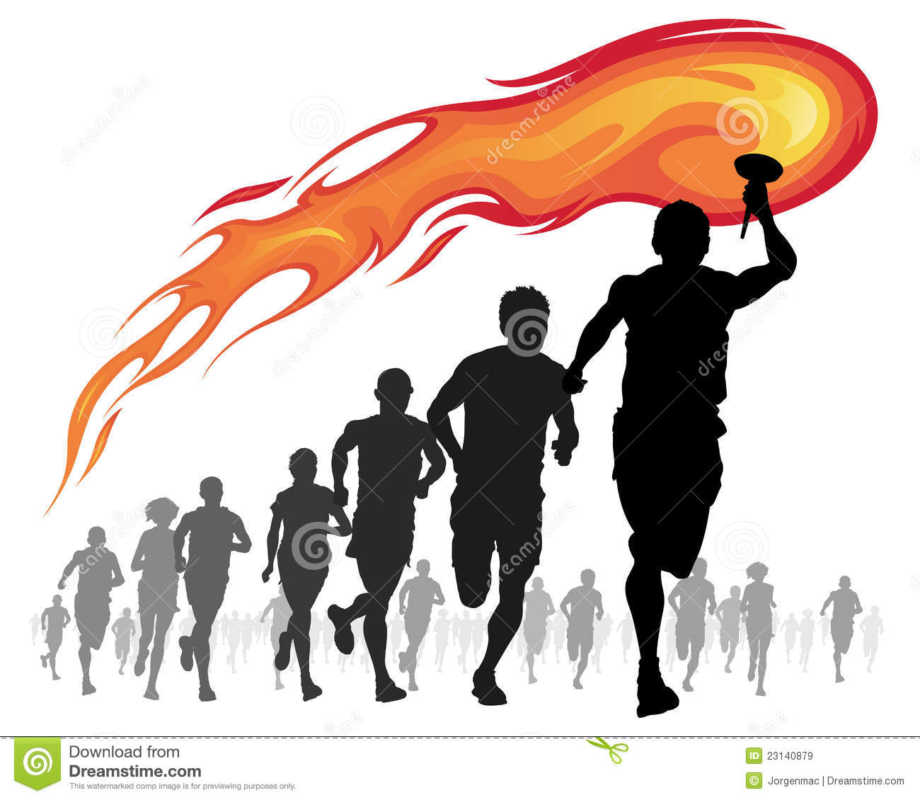 Athletes With Flaming Torch. Stock Vector - Illustration of ... for Olympic Torch Vector Free Download  70ref
