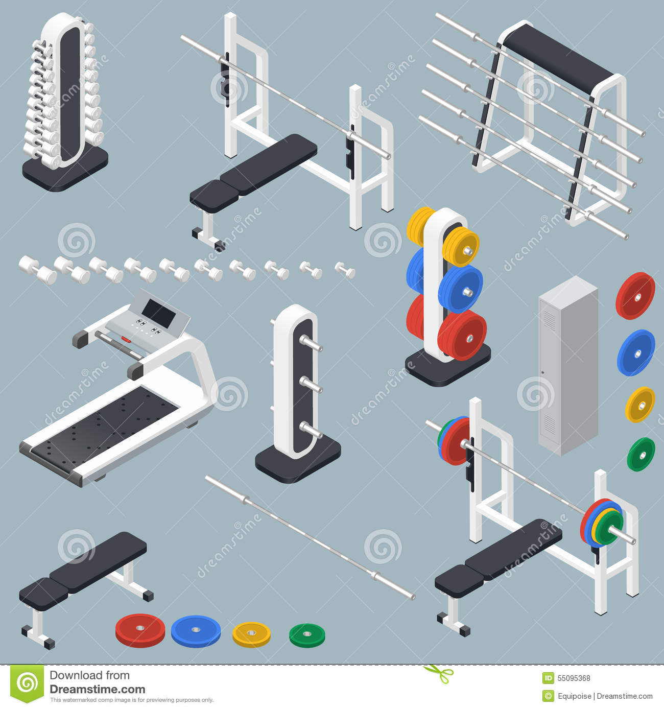 Isometric Exercises Equipment: Isometric Gym Fitness Club Sport Center Interior With