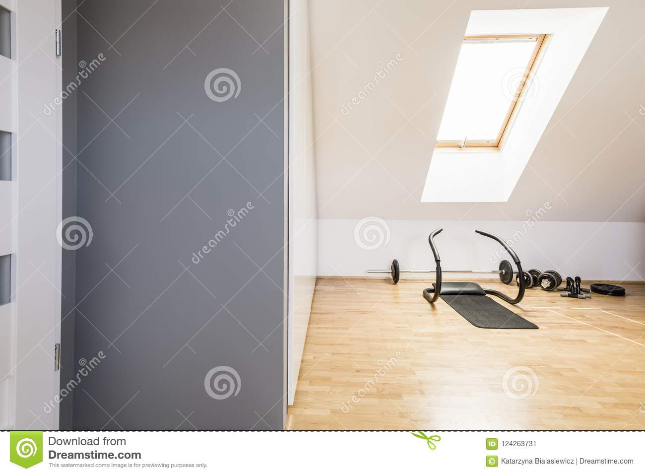 Athletic equipment on wooden floor in home gym interior in the a