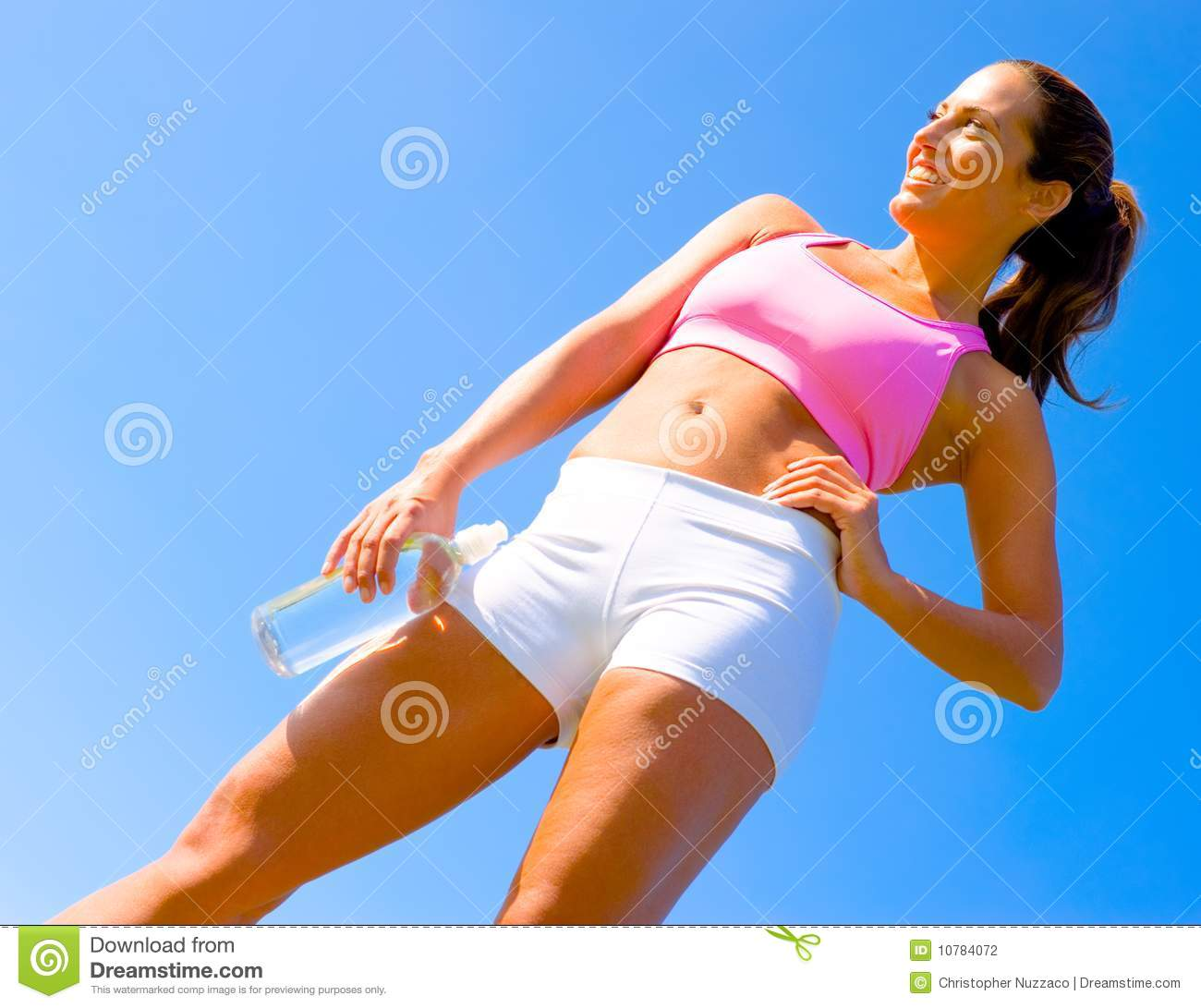 Athletic exercising woman