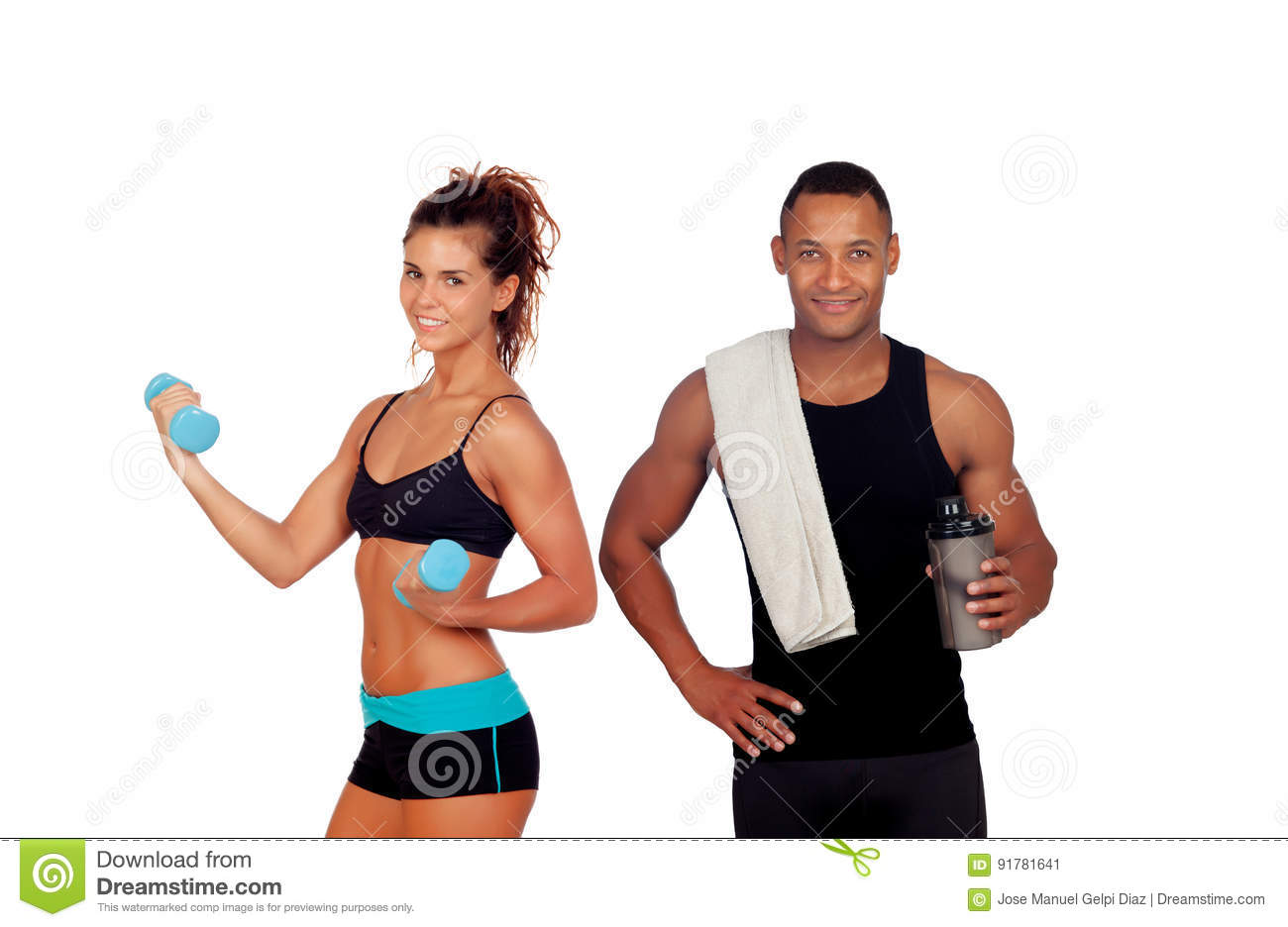 Athletic man after doing exercises drinking shaker proteincocktail and slim girl training