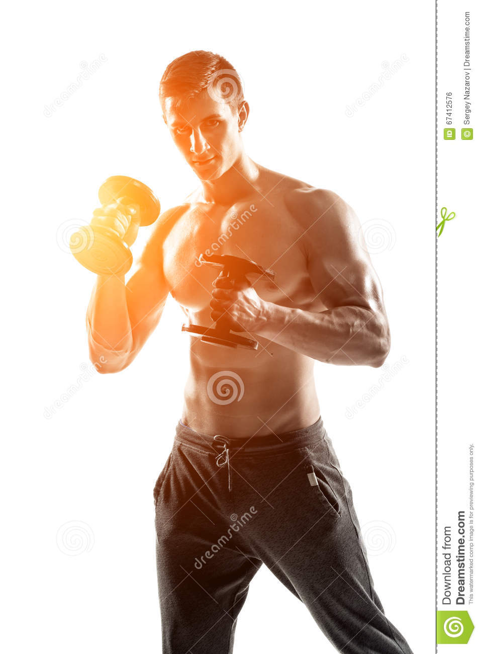 Athletic Man Showing Muscular Body With Dumbbells, Full