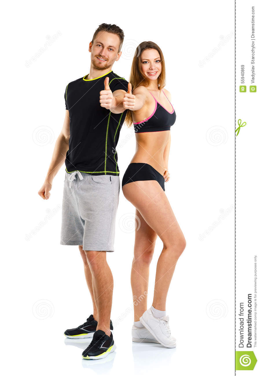 Athletic man and woman after fitness exercise with a thumb up on