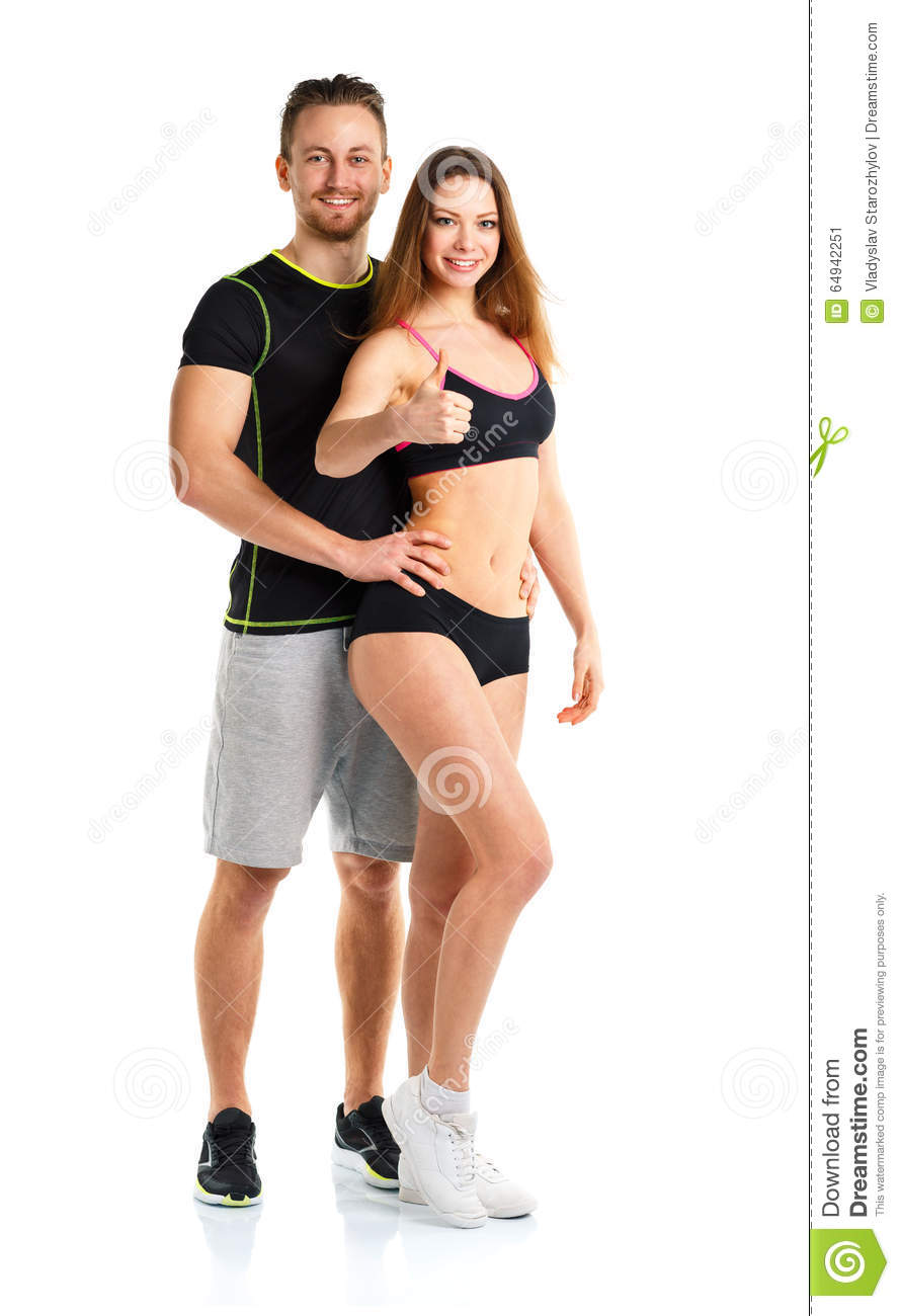 Athletic man and woman after fitness exercise with thumbs up on