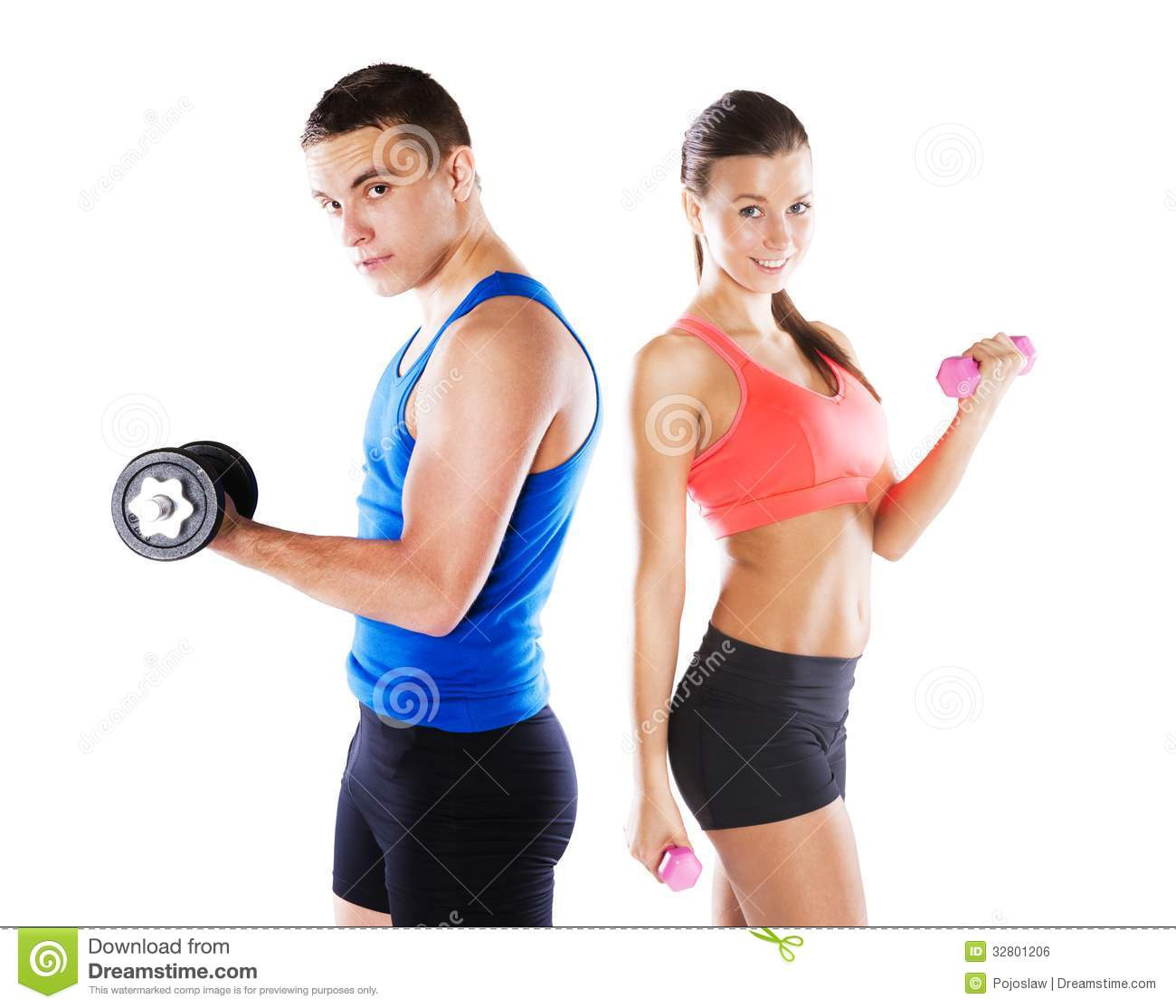 Exercise Fitness: Athletic Man And Woman Stock Photo. Image Of Muscle, Adult