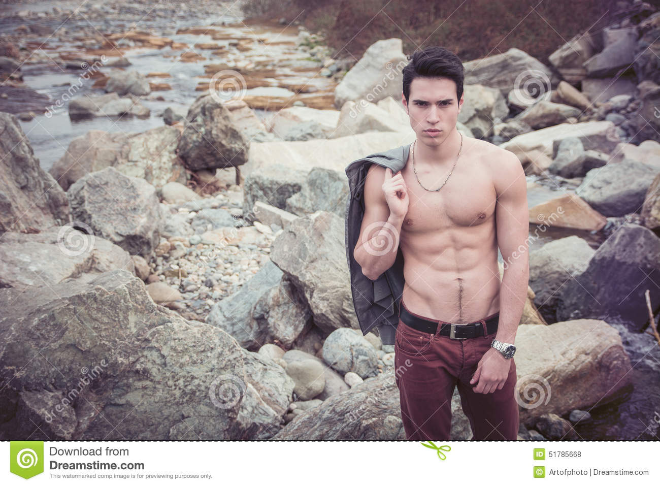 Athletic Shirtless Young Man Outdoor At River Or Water
