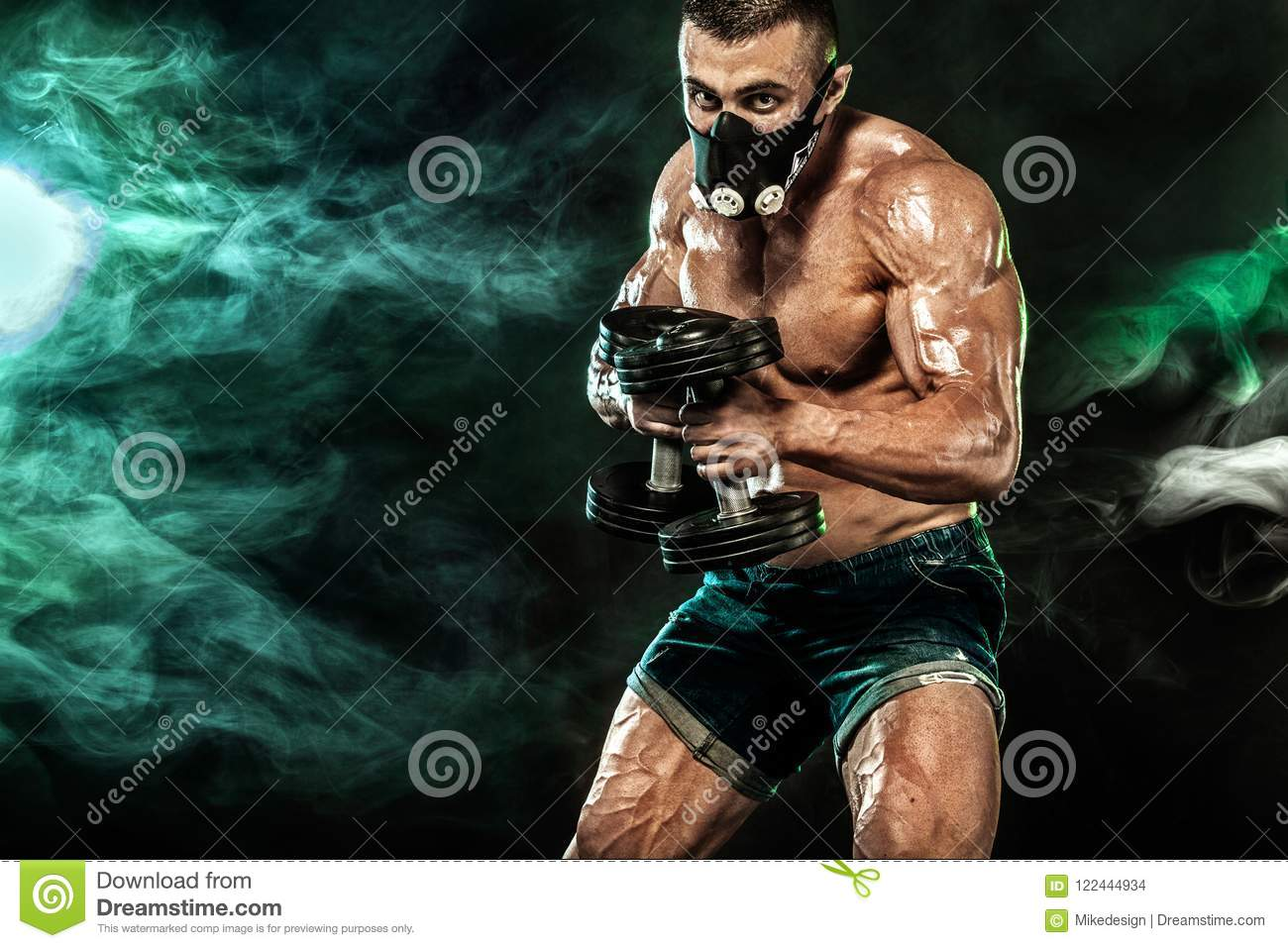 Muscular Young Fitness Sports Man, Bodybuilder In Training Mask