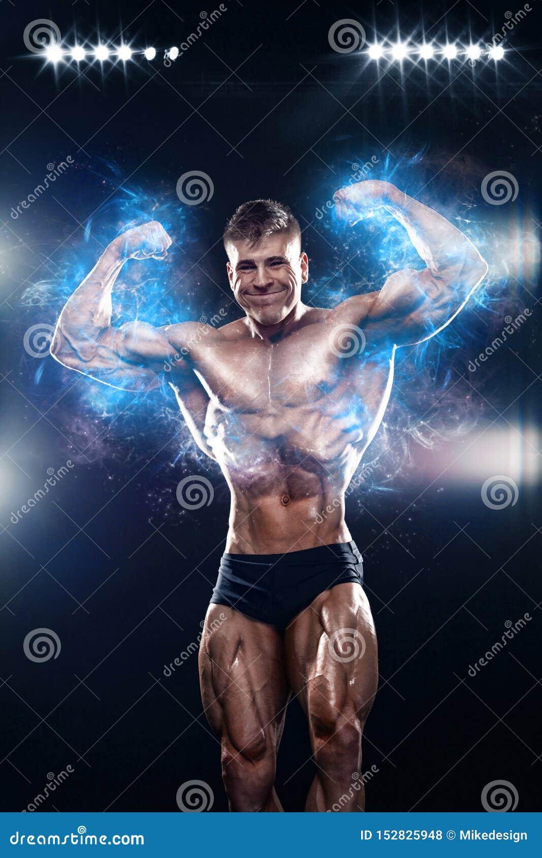 Strong Naked Man Posing Lifting Barbell Stock Photo