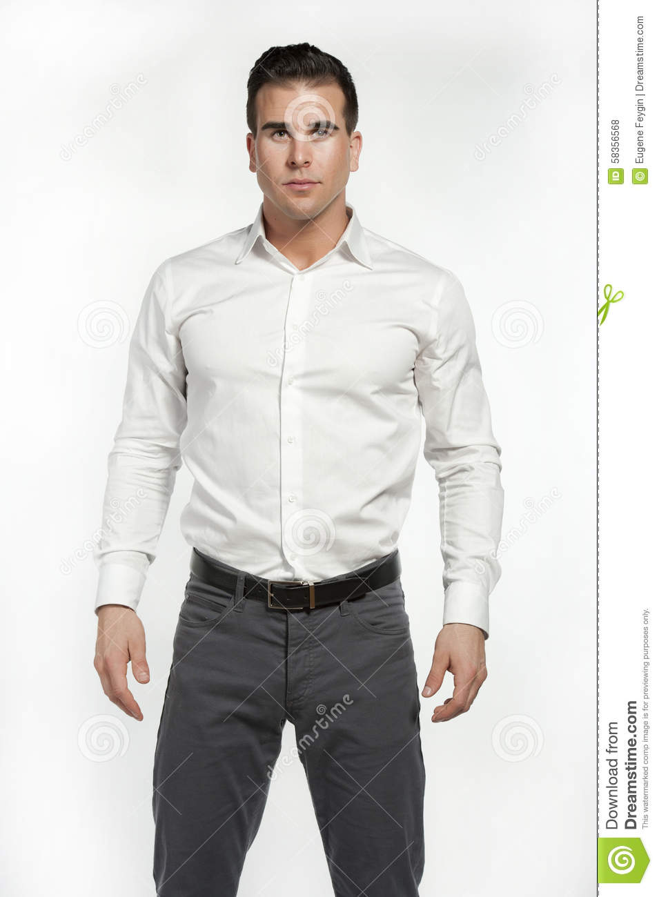 Athletic white male in fitted shirt stock photo image for White shirt black pants