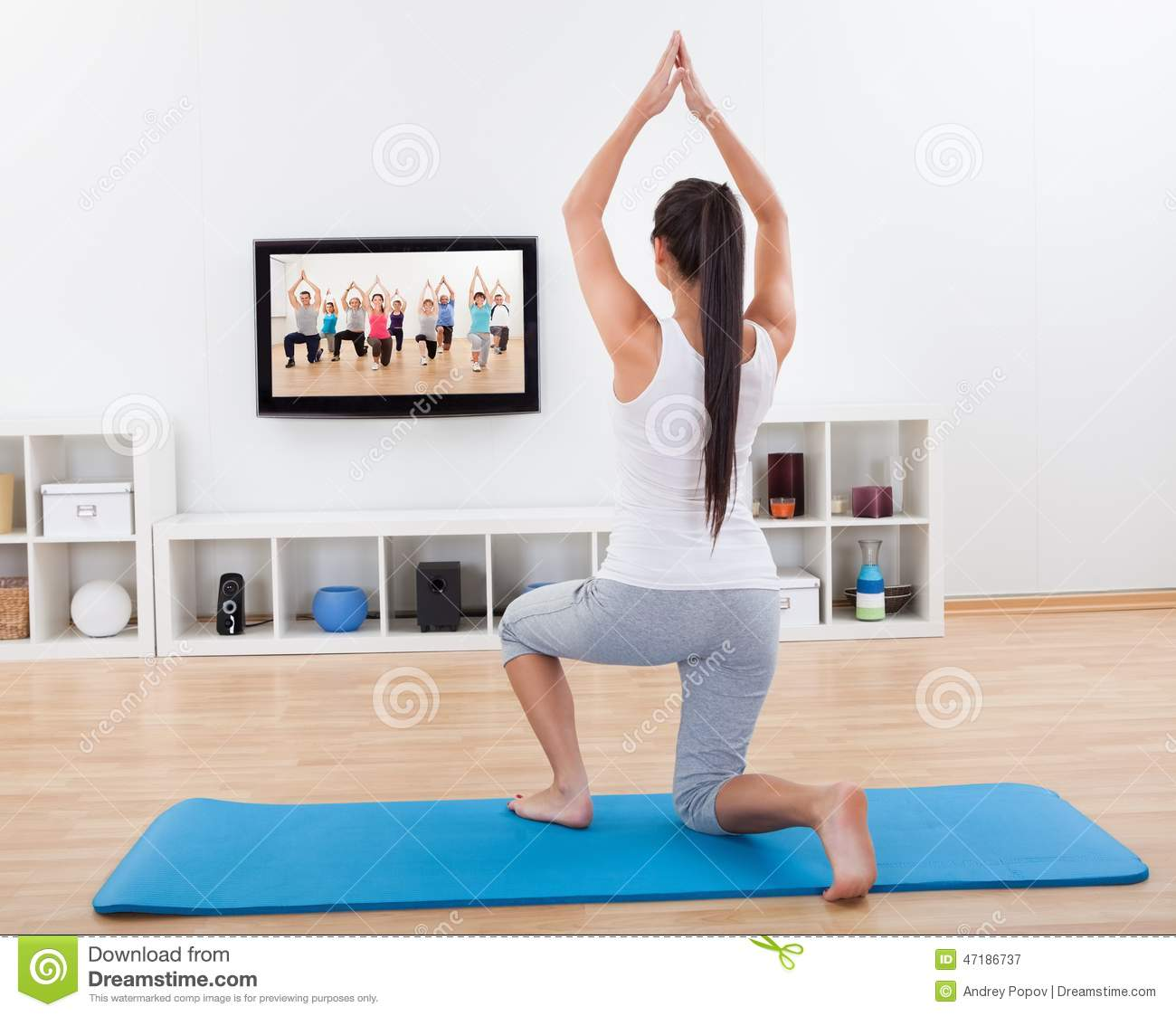 Athletic Woman Doing Exercises At Home Stock Photo Image