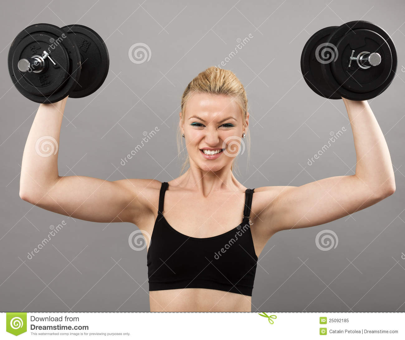 Athletic Young Lady Working Out With Weights Royalty Free ...