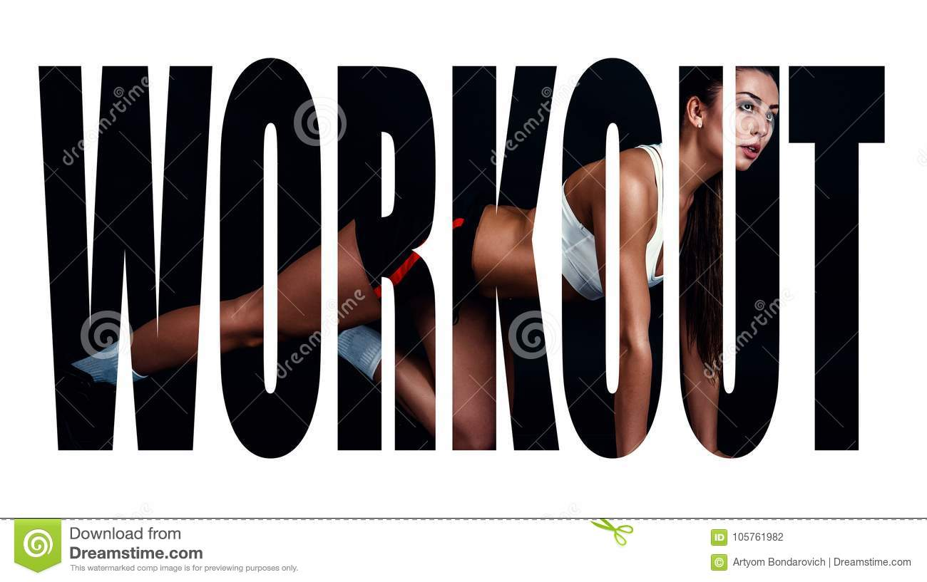 Athletic young woman doing a fitness workout against black background. Sporty woman in sportswear with perfect fitness body. Motiv