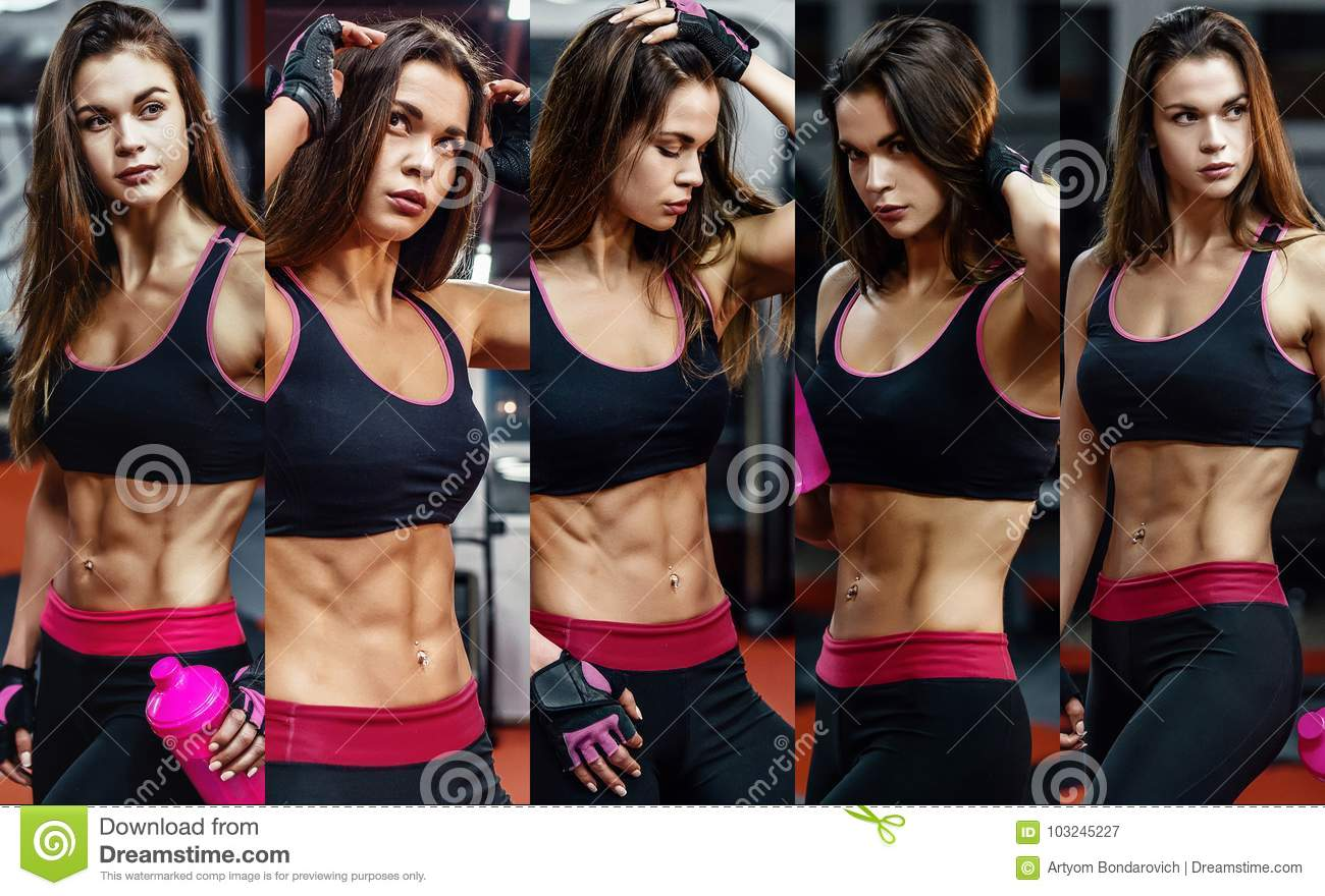 Athletic young woman after hard workout at gym. Fitness girl holds shaker with sportive nutrition. Collage of photo.