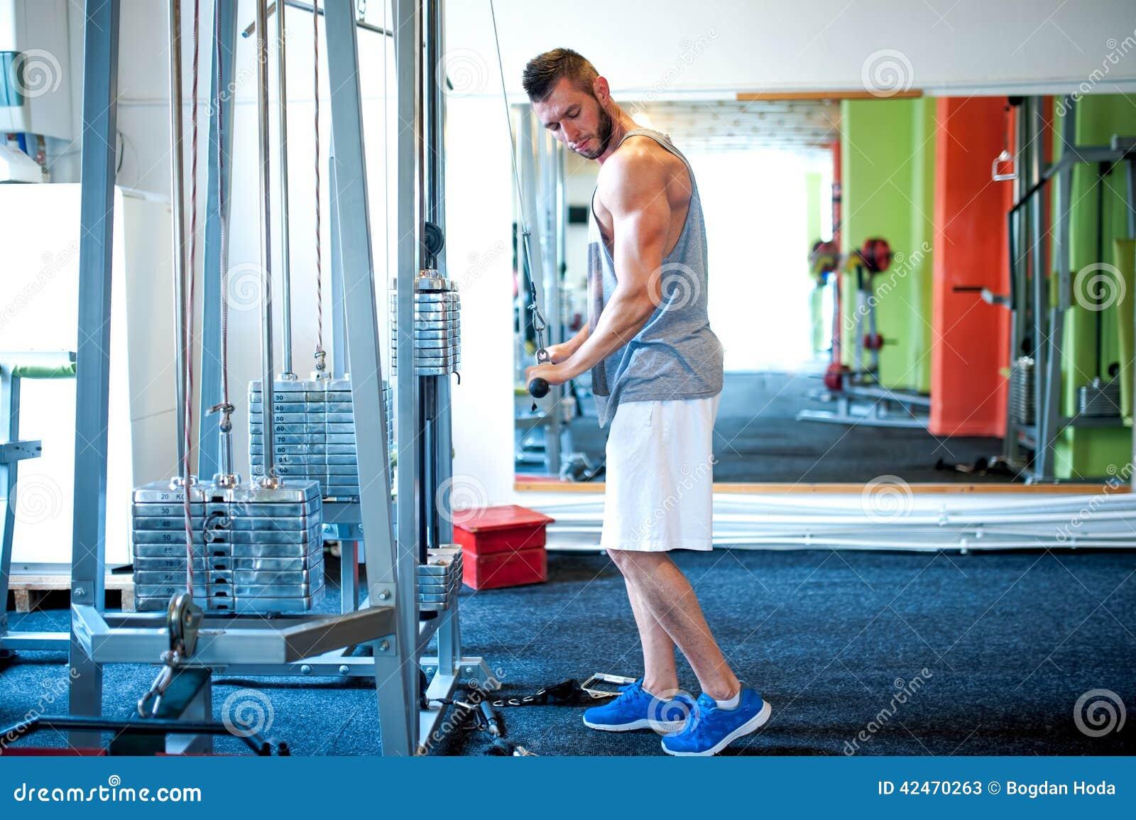 Athletisches Bodybuildertraining an der Turnhalle, Trizeps trainiert