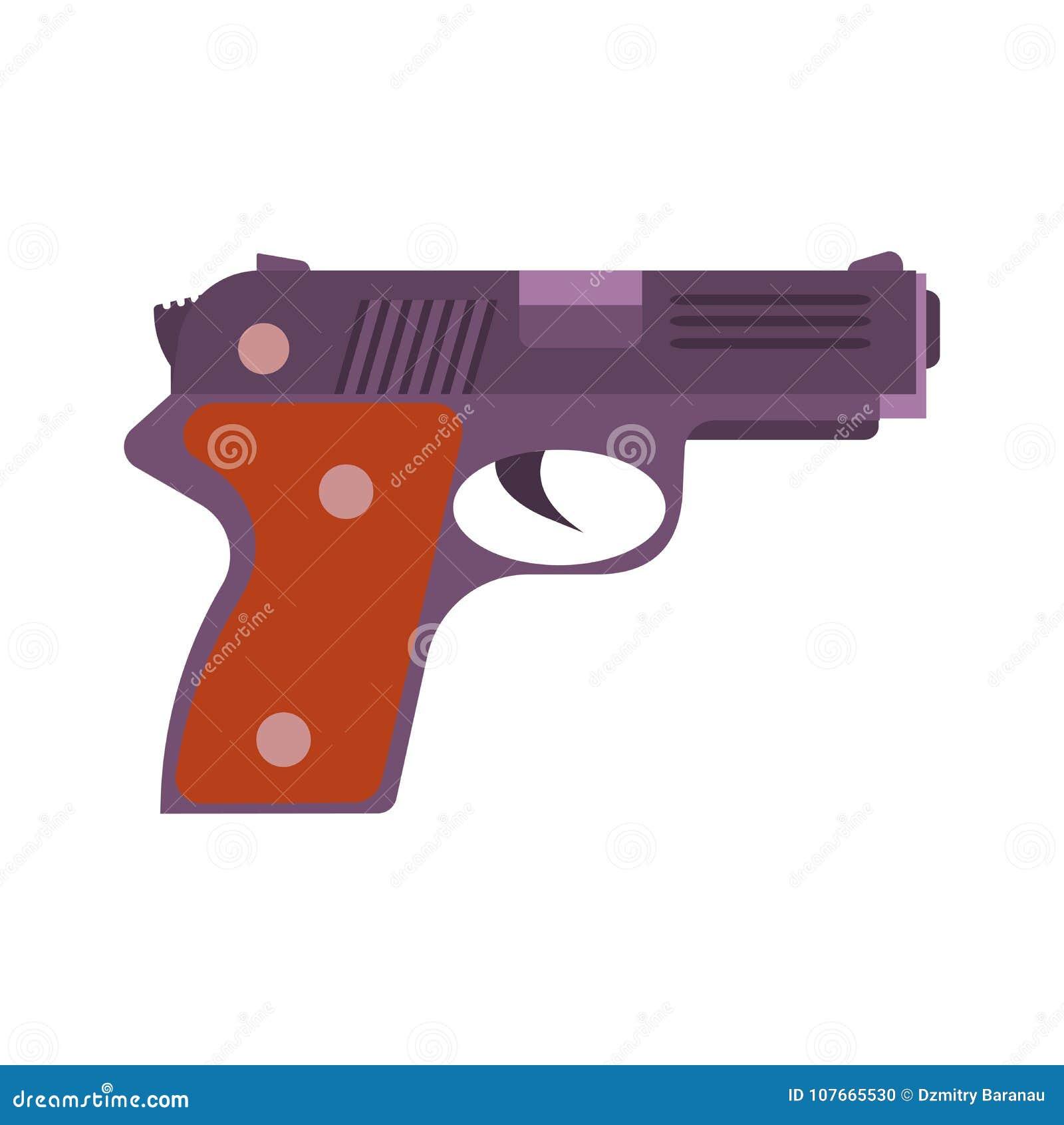 Atire no weapo isolado revólver do branco do ícone da pistola da ilustração do vetor