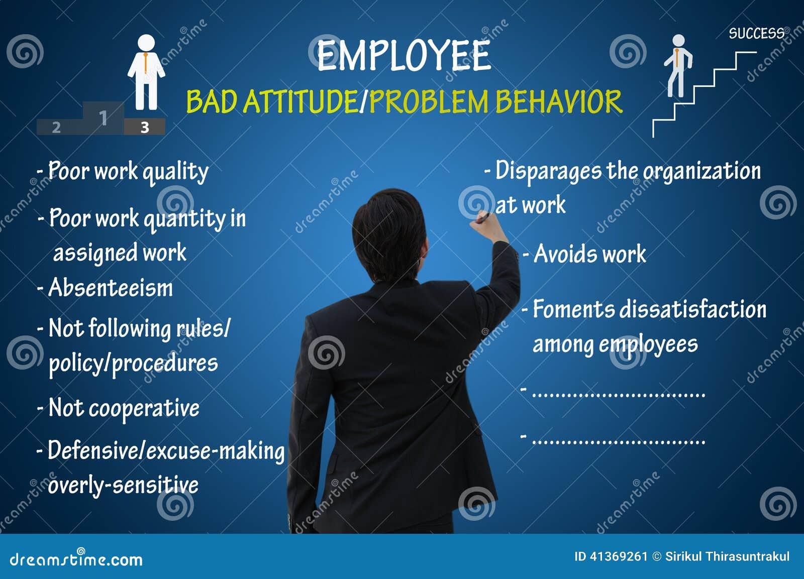 Atitude do empregado e comportamento de problema maus