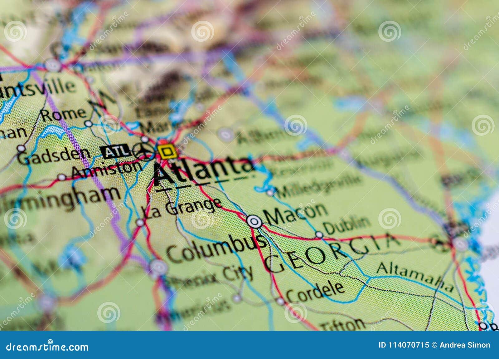 Atlanta Auf Karte Stockbild Bild Von Flughafen Papiere 114070715