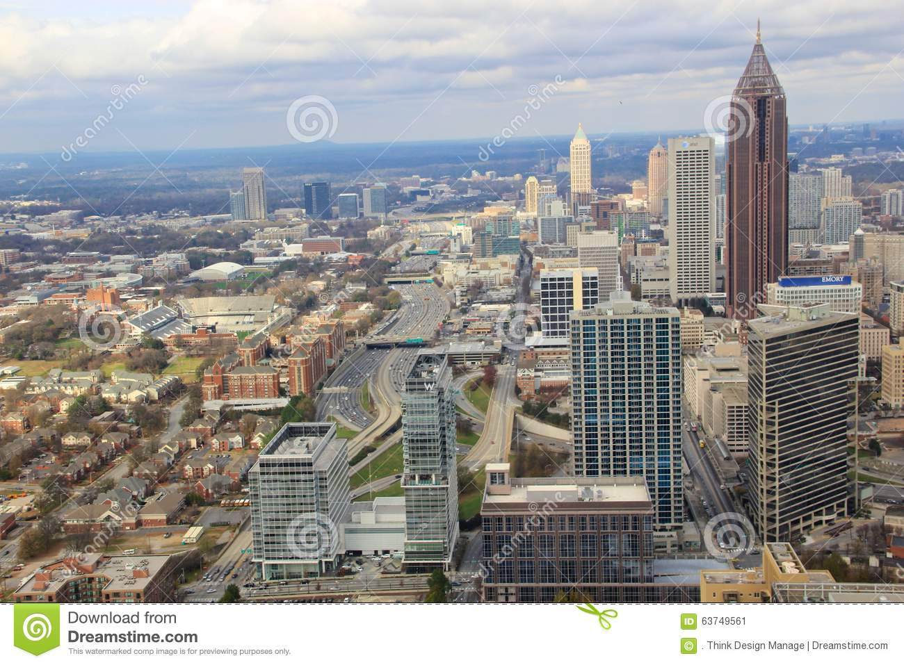 atlanta downtown skyline usa editorial photo image 63749561. Black Bedroom Furniture Sets. Home Design Ideas