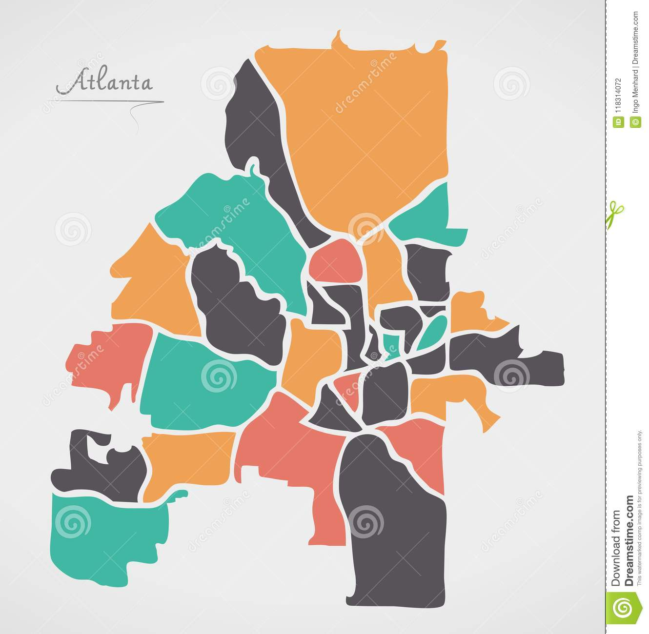 Atlanta Georgia Map With Neighborhoods And Modern Round Shapes Stock